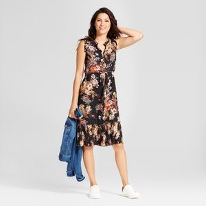A NEW DAY X-Large Black Floral Dress Pleat Ruffle